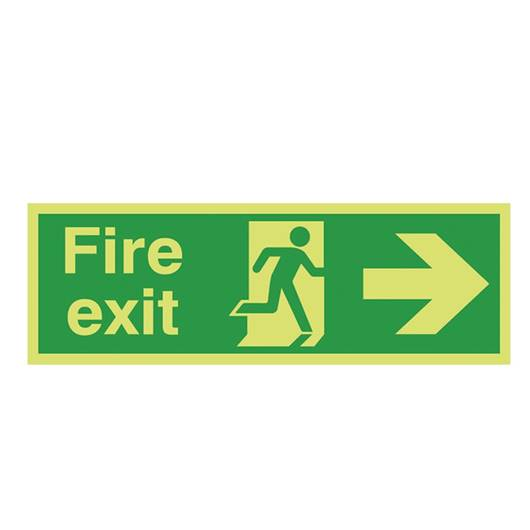 Picture of Photoluminescent Fire Exit Right Arrow Sign