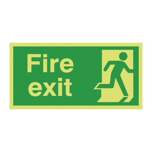 Picture of Photoluminescent Fire Exit Right Man Sign