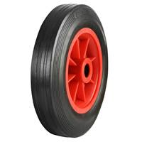 Picture of Black Solid Rubber Tyred Wheels With Red Polypropylene Centres